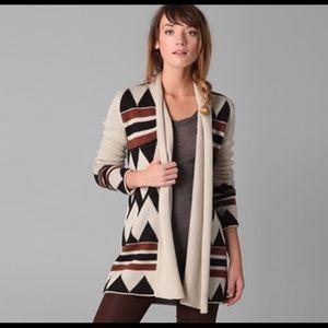 BB DAKOTA | Aztec print wool blend open cardigan M